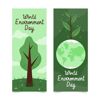 Hand getekend wereld milieu dag sjabloon voor spandoek