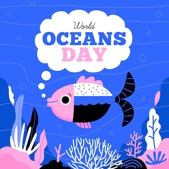 Hand getekend wereld oceanen dag concept