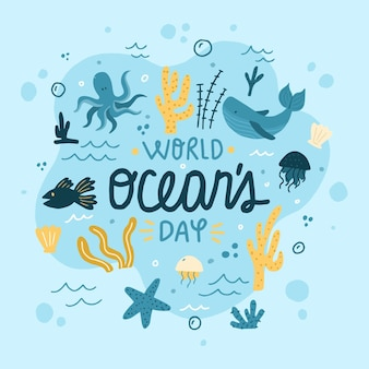 Hand getekend wereld oceanen dag illustratie