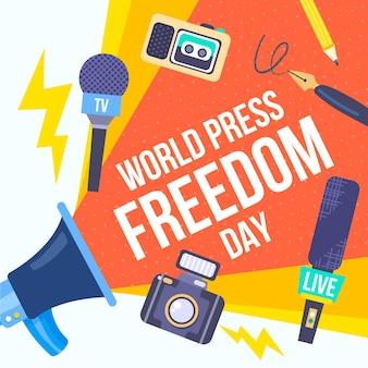 Hand getekend wereld persvrijheid dag illustratie