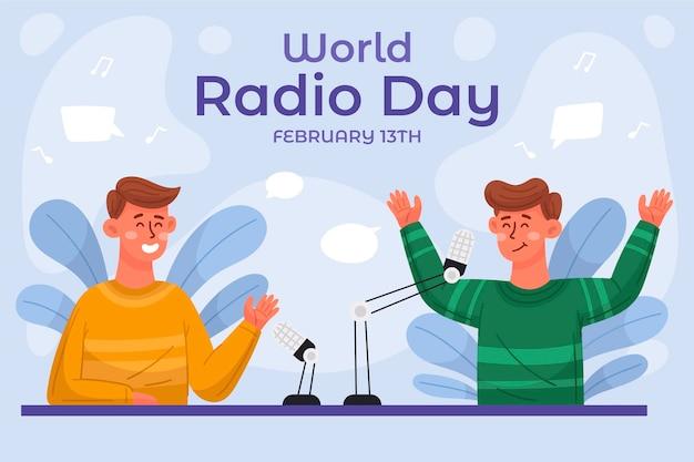 Hand getekend wereld radio dag achtergrond