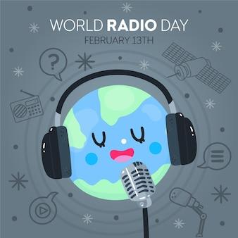Hand getekend wereld radio dag illustratie