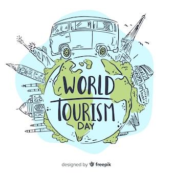 Hand getekend wereld toerisme dag met bezienswaardigheden