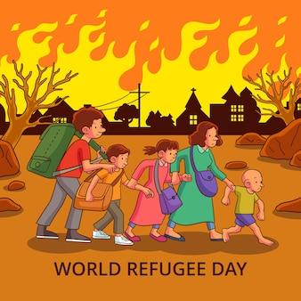Hand getekend wereld vluchteling dag illustratie