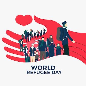 Hand getekend wereld vluchtelingendag concept