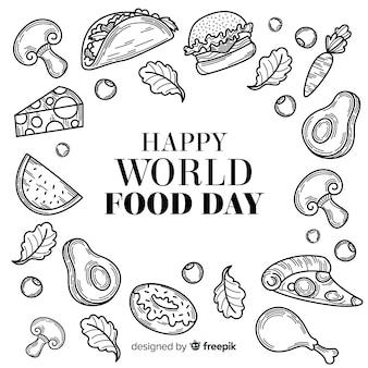 Hand getekend wereld voedsel dag in zwart en wit