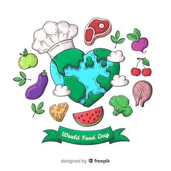 Hand getekend wereld voedsel dag met aarde als chef-kok