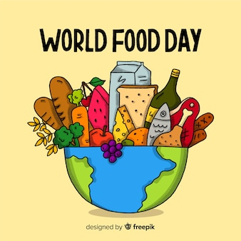 Hand getekend wereld voedsel dag met planeet kom