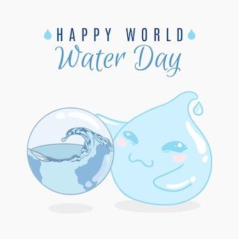 Hand getekend wereld water dag evenement