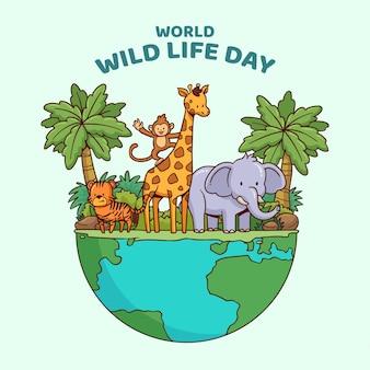 Hand getekend wereld wildlife dag illustratie