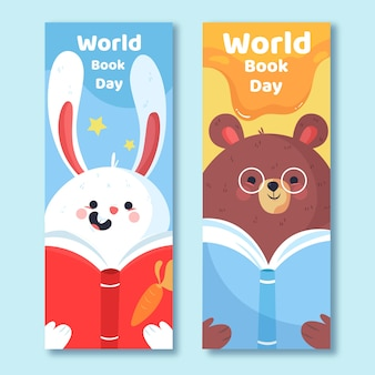 Hand getekend wereldboek dag banners sjabloon