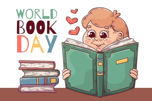 Hand getekend wereldboek dag concept