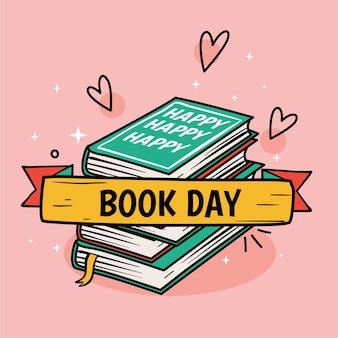 Hand getekend wereldboekdag illustratie met gestapelde boeken