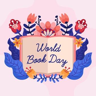 Hand getekend wereldboekdag illustratie met open boek en bloemen