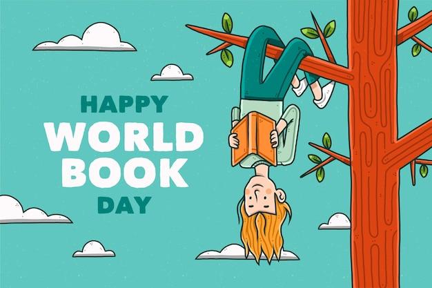 Hand getekend wereldboekdag illustratie