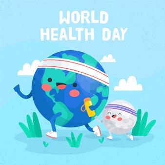 Hand getekend wereldgezondheidsdag behang