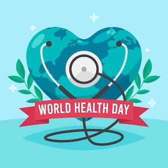 Hand getekend wereldgezondheidsdag illustratie met hartvormige planeet en stethoscoop