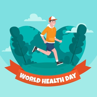 Hand getekend wereldgezondheidsdag illustratie met man joggen