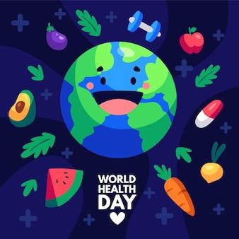 Hand getekend wereldgezondheidsdag illustratie