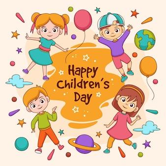 Hand getekend wereldkinderen dag geïllustreerd