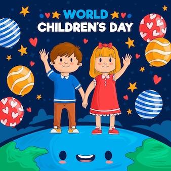 Hand getekend wereldkinderen dag illustratie Gratis Vector