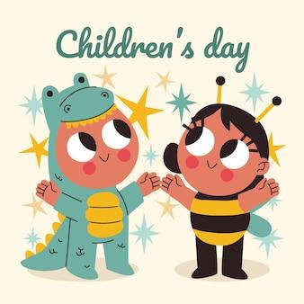 Hand getekend wereldkinderen dag illustratie