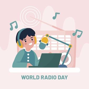 Hand getekend wereldradiodag met karakter