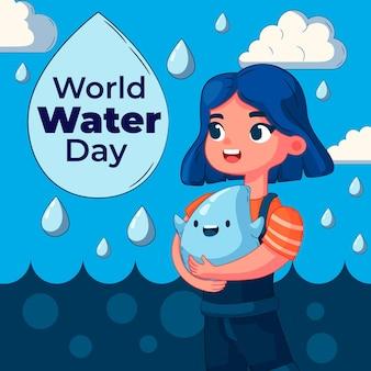 Hand getekend wereldwaterdag