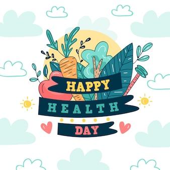 Hand getekend wereldwijde gezondheidsdag met bladeren en groenten