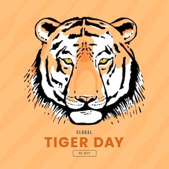 Hand getekend wereldwijde tijger dag illustratie