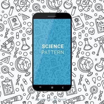 Hand getekend wetenschap mobiel patroon