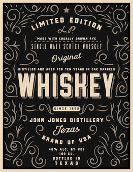 Hand getekend whisky label met sieraad elementen, westerse gravure alcohol whisky label