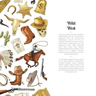 Hand getekend wilde westen cowboy