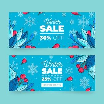 Hand getekend winter verkoop banners sjabloon