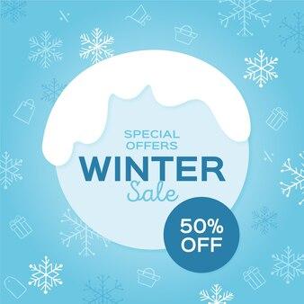 Hand getekend winter verkoop concept