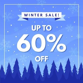 Hand getekend winter verkoop illustratie