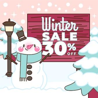 Hand getekend winter verkoop korting met geïllustreerde sneeuwpop