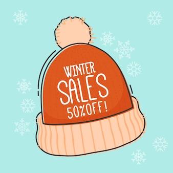 Hand getekend winter verkoop promo met hoed