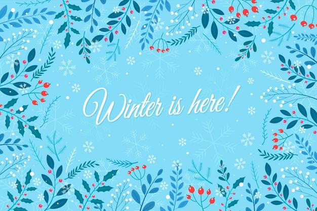Hand getekend winterbehang met florale versieringen
