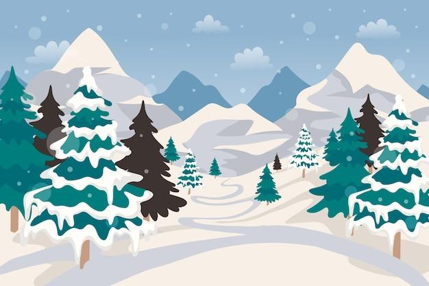 Hand getekend winterlandschap behang
