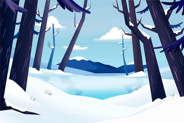 Hand getekend winterlandschap