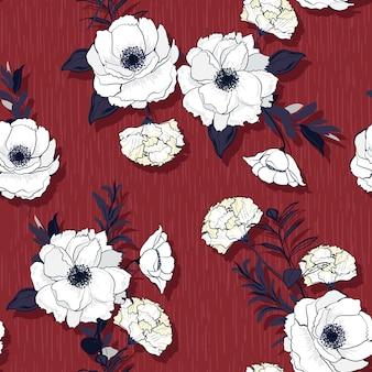 Hand getekend witte bloeiende bloemen in vector naadloze patroon