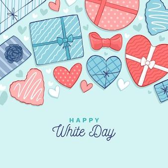 Hand getekend witte dag met chocolade