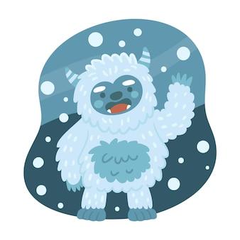 Hand getekend yeti verschrikkelijke sneeuwpop illustratie