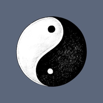 Hand getekend yin en yang-symbool