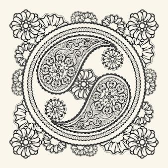 Hand getekend yin-yang teken