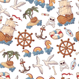 Hand getekend zee reis patroon