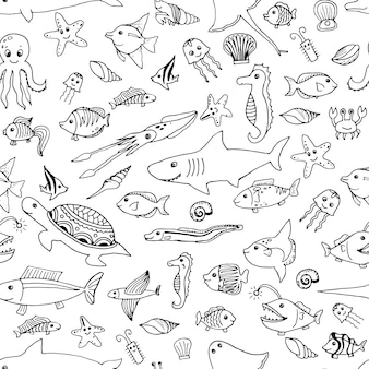 Hand getekend zeedieren naadloos patroon