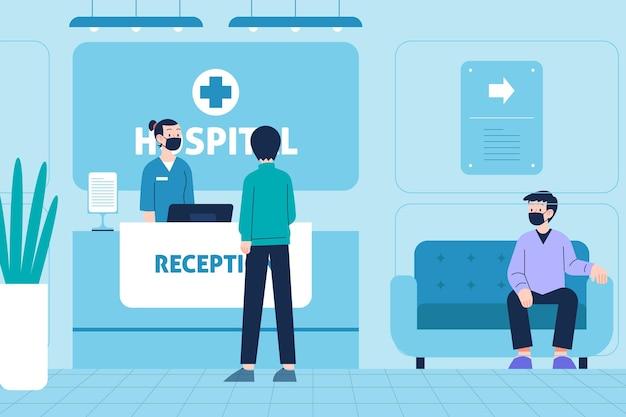 Hand getekend ziekenhuis receptie scène met mensen die medische maskers dragen