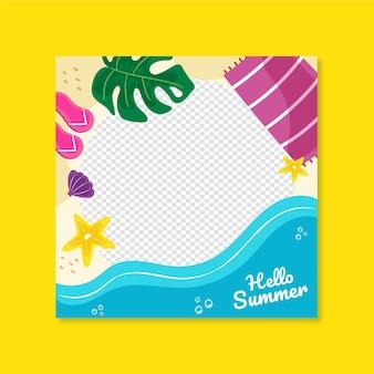 Hand getekend zomer facebook frame sjabloon